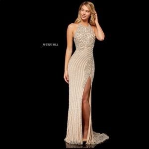 Sherri Hill 52368 prom dress nude, silver/diamond